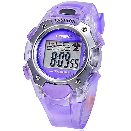 Fashion Multifunction Waterproof Sports Casual Unisex Wrist Watches (Purple)