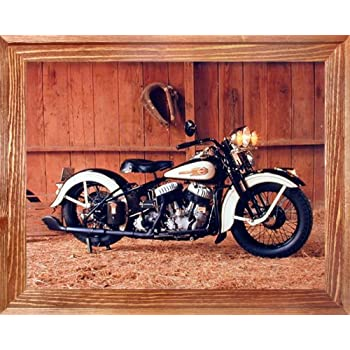 Vintage Flathead Harley Davidson Motorcycle Wall Decor Brown Framed Picture Art Print (19x23)
