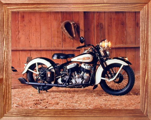 Vintage Flathead Harley Davidson Motorcycle Wall Decor Brown Framed Picture Art Print (19x23) 0