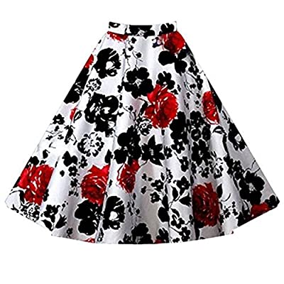 LECIMO Women Floral Print Fit and Flared Midi Skirt