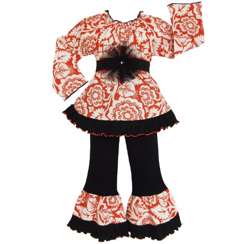 Toddler Girls 4/5T Orange Blossom Shirt & Pants Clothing Outfit front-157666