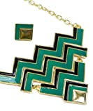 Madison Ave Fashion Green Gold Chevron Necklace Set