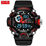 SMAEL SL1385 Men's Sports Analog Digtal Wrist Watch Dual Quartz Movement Military Time Water Resistant with Backlight (Black-Red) (Color: Black-Red)