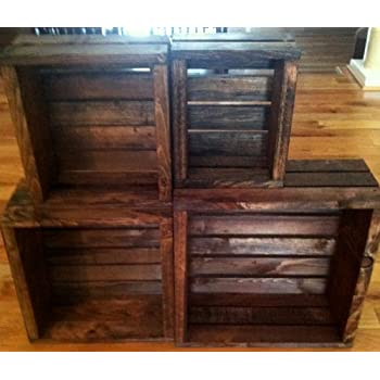 Vintage Stained- Rustic Wood Crates- Set of 4