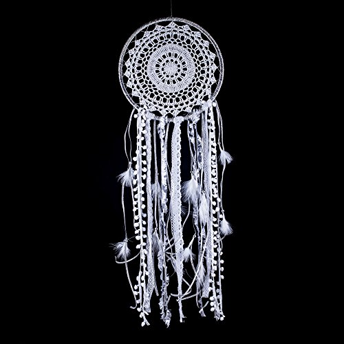 Dream Catcher ~ Silver and White Boho, Hippie, Bohemian Style 10.5