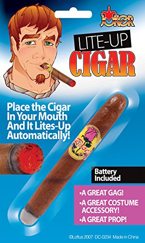 Loftus Realistic Rich Guy Light-Up Cigar Costume Accessory, Brown, One-Size