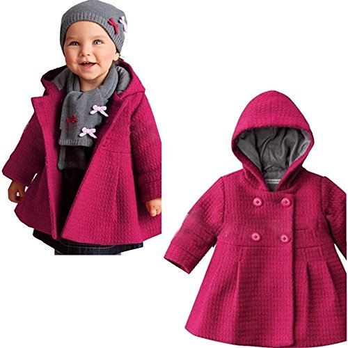 EGELEXY Baby Girl's Hooded Wool Cotton Trench Coat Outwear 24-30months Rose