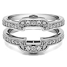 buy 0.49 Ct. Diamonds Square Halo Style Wedding Ring Guard In Silver (1/2 Ct. Twt.)
