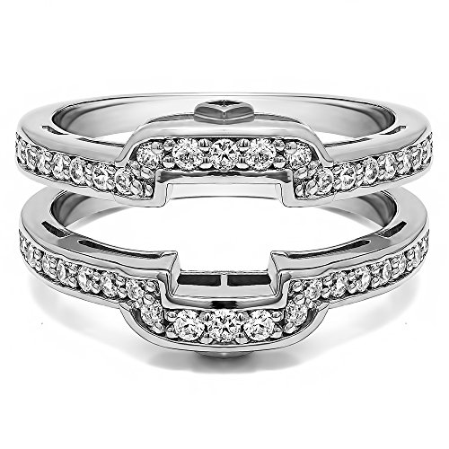 0.49 ct. Cubic Zirconia Square Halo Style Wedding Ring Guard in Sterling Silver (1/2 ct. twt.) (Diamond Guard Ring compare prices)