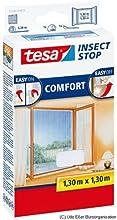 tesa Fliegengitter für Fenster, beste tesa Qualität, weiß, leichter Sichtschutz, 1,3m x 1,3m