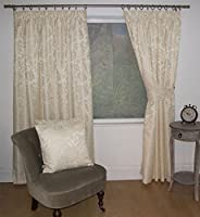"Jacquard Floral Damask Cream 46x48"" 117x122cm Lined Pencil Pleat Curtains Drapes from Curtains"