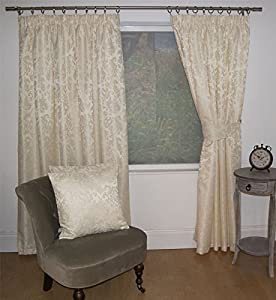"""Jacquard Floral Damask Cream 46x48"""" 117x122cm Lined Pencil Pleat Curtains Drapes from Curtains"""
