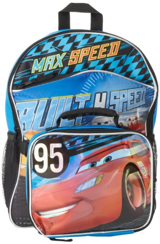 Fast Forward Boys 2-7 Cars Full Size Backpack with Detachable Rectangular Lunch Kit, Black/Blue, One Size