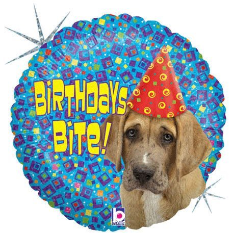 "Birthdays Bite Puppy Dog 18"" Mylar Balloon - 1"