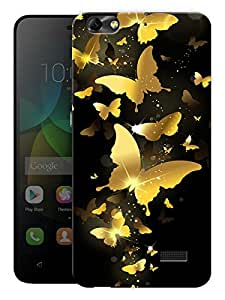 """Humor Gang Golden Butterflies Printed Designer Mobile Back Cover For """"Huawei Honor 4C"""" (3D, Matte, Premium Quality Snap On Case)"""