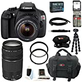 Canon EOS Rebel T5 DSLR Camera with EF-S 18-55mm IS II Lens + Canon 75-300mm f/4.0-5.6 EF III Zoom Lens USA + 64GB Memory Card + All in One High Speed Card Reader + Extra Lithium Ion Rechargable Battery + Deluxe Accessory Kit