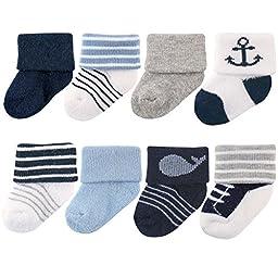 Luvable Friends Baby 8 Pack Newborn Socks, Nautical, 0-6 Months
