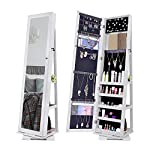 NEX 360 Degree Rotatable Jewelry Cabinet with Full-Length Mirror Lockable Standing Armoire Organizer