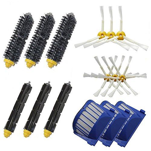 Shp-Zone Aero Vac Filter & 3-Armed + 6-Armed Side Brush & Bristle Brush & Flexible Beater Brush Pack Replenishment Mega Kit For Irobot Roomba 600 Series (620 630 650 660 680) Vacuum Cleaning Robots