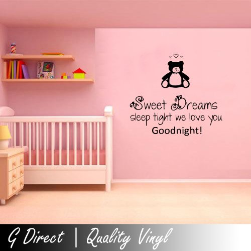 Sweet Dreams Teady Childrens Nursery Wall Sticker Vinyl Decal Mural Graphic 100X55 Ck front-923971