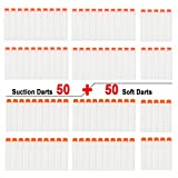 EKIND 100 pcs Fluorescence Dardos Espuma Balas Para Nerf N-strike Elite Serie Blaster (2 Tipo de cabeza, Blanco)