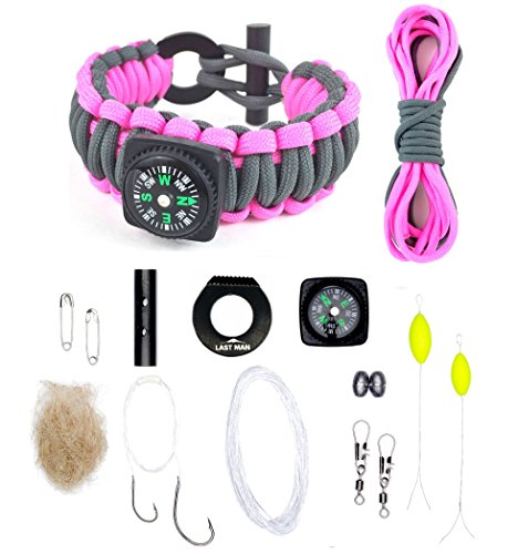 The Ultimate Paracord Survival Kit Bracelet (Small, Gunmetal + Pink with Compass)