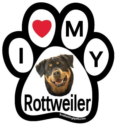 I Love My Rottweiler Paw Magnet (Rottweiler Refrigerator Magnets compare prices)