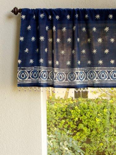 Starry Nights (C) ~ India Blue Batik Beaded Window Valance front-1001428