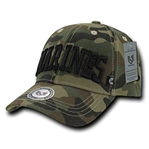 Rapiddominance Marine Text Camo Military Cap, Woodland