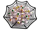 Basket of Eyeballs - Two Piece Halloween Bundle Contains One Black Spiderweb Basket Plus One 14oz Bag of Bubblegum Candy Eyeballs
