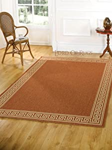 """Large Modern Flatweave Rug Carpet (Rust, 160 x 230 cm (5'3"""" x 7'7"""")) from Lord of Rugs"""