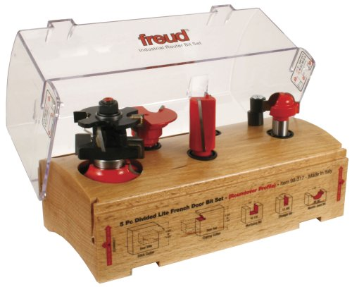 Freud 98-317 5 Piece French Door Router Bit Set - Divided Lite - Roundover Profile 98-307  98-327 - 1 2-InchB001D2V9T0