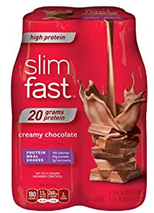 SlimFast Ready to Drink Bottles, High Protein Creamy Chocolate Meal Replacement Shake, 10-Ounces, 4 Count (Pack of 4)