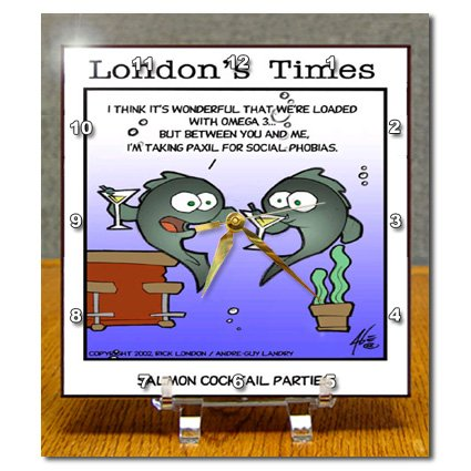 dc_2433_1 Londons Times Fish Fishing Deep Beneath Cartoons - Salmon Coctail Parties With Omega 3 - Desk Clocks - 6x6 Desk Clock