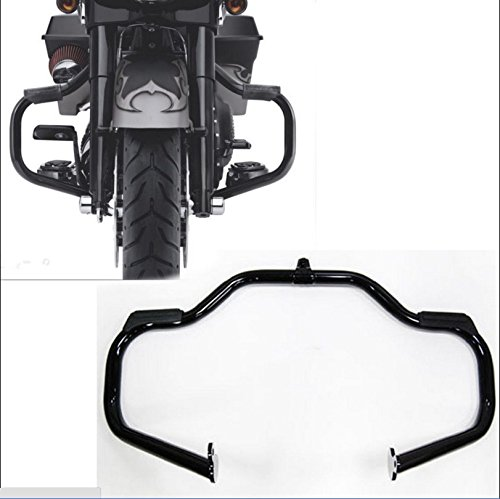 HK MOTO- Black Highway Rail Engine Guard Crash Bar For Harley Davidson Touring 2009-2017 Road King FLHR/ Street Glide FLHX/ CVO Street Glide FLHXSE (Aftermarket 49155-09A) (Black Engine Guard For Road Glide compare prices)