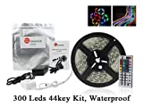 TaoTronics® TT-SL007 300 Led Color Led Strip Light Kit Waterproof Dimmable Kitchen Led Strip Lights 5050 RGB SMD 12v 16.4ft Including 44 key Remote Controller, 72w Power Supply