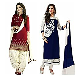 Sky Global Women's Printed Unstitched Regular Wear Salwar Suit Dress Material (Combo pack of 2)(SKY_DC_5008)(SKY_501_RED)(Dress_158_FreeSize_Blue)
