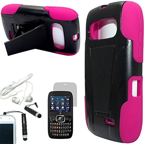 [Arena] Black Pink Hybrid Slant Stand Cover Hard Gel Case For Zte Z432 + Free Arena Accessories
