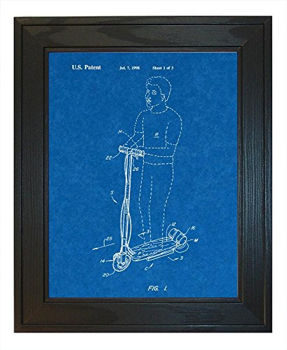 "Hoverboard Goped Electric Scooter Patent Art Blueprint Print In A Solid Pine Wood Frame (11"" X 14"")"