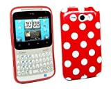 Kit Me Out UK IMD TPU Gel Case + Screen Protector with MicroFibre Cleaning Cloth for HTC Chacha - Red, White Polka Dots