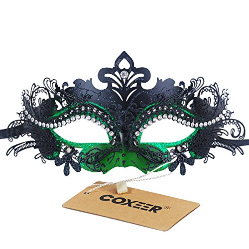 Party Mask Phantom Green and Black Metal Mask for Halloween Ball Prom