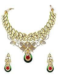 Designer CZ Vilandi Kundan Necklace Set In Floral Design