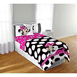 Disney Minnie Mouse Black Dots 6pc Full Comforter and Sheet Set Bedding Collection with Night Light
