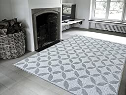Ottomanson Jardin Collection Contemporary Star Design Indoor/Outdoor Jute Backing Lattice Area Rug, Grey, 5\'3\