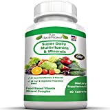 Super Daily Multivitamin Supplement for Men, Women and Seniors Over 50. Best Food Based Natural Multivitamins Pills With 21 Essential Vitamins, Minerals Plus Proprietary Blend of 42 Fruit and Vegetable Super Foods With Essential Antioxidants. Proudly Made in USA. High Quality, High Potency Multivitamin. Not Just Your Average Multivitamins. Worth Every Penny.
