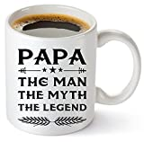 Muggies Papa Mug - Gift For Dad And Grandpa! Coffee Tea 11oz Cup. Unique Gifts For Men & Husband! Christmas, Birthday, Father's Day - Papa The Man The Myth The Legend! + Woodworking Ebook By Muggies