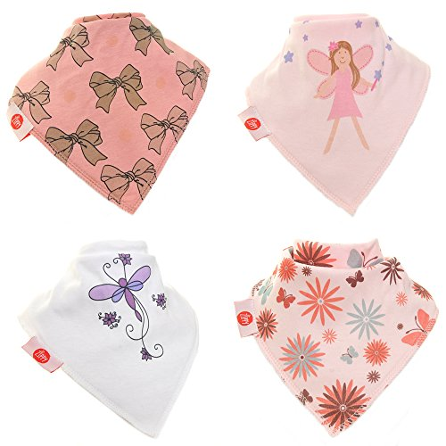 Zippy Fun Baby and Toddler Bandana Bib-Absorbent 100%cotton Front Drool Bibs with Adjustable Snaps (4 Pack Gift Set) Girls Girly