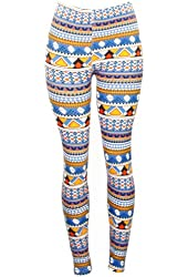Colorful Geometric Shape Print Pattern Leggings yellow, Blue, Red