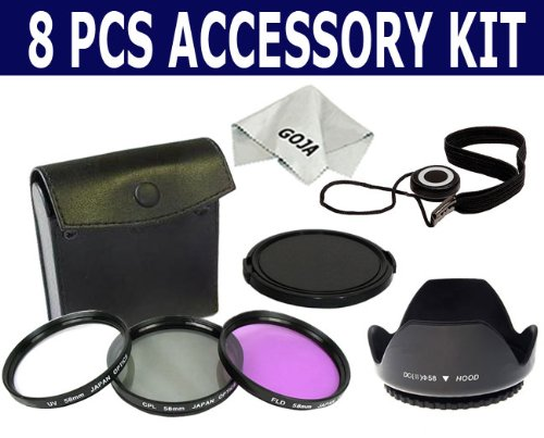 Essential Filter Accessory Kit for CANON Rebel (XT, XTi, XSi T1i, T2i, T3i), CANON EOS (550D 500D 450D 400D 350D 300D). Includes: 58mm Lens Hood + 58mm 3pc Filter Kit (PL, UV, FD) + 58mm Lens Cap + Cap Keeper + 1 Ultra Fine Goja Microfiber Cleaning Cloth