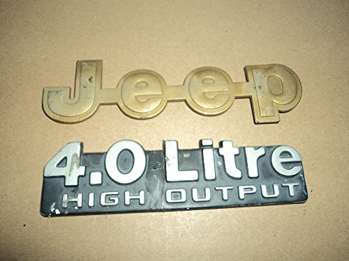 93 Jeep Cherokee 4.0 Litre High Output YELLOW Front Emblem Rear Trunk Logo Set of 2 Decals (Cherokee Emblem compare prices)